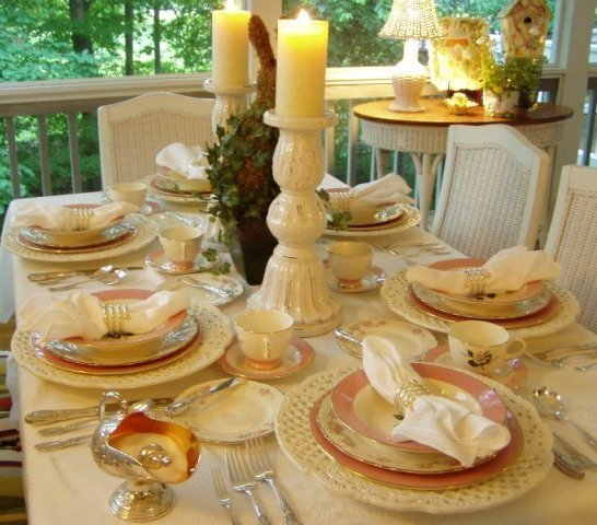 Cottage Tablescape Table Setting With International Glenwood