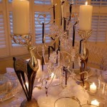 Winter Table Setting with Swarovski Crystal Ornament Centerpiece