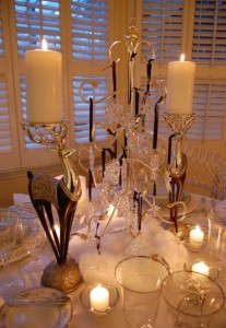 Winter Tablescape with Swarovski Crystal Ornament Centerpiece