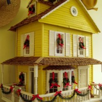 Yellow Farmhouse Dollhouse Decorated for Christmas