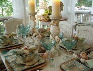 Beach Tablescape in Aqua