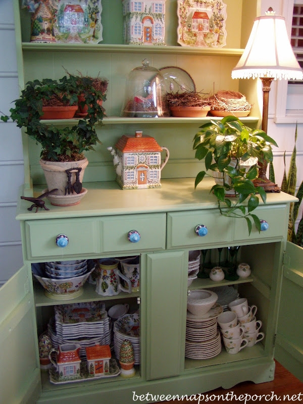 Dish Storage in Porch Hutch