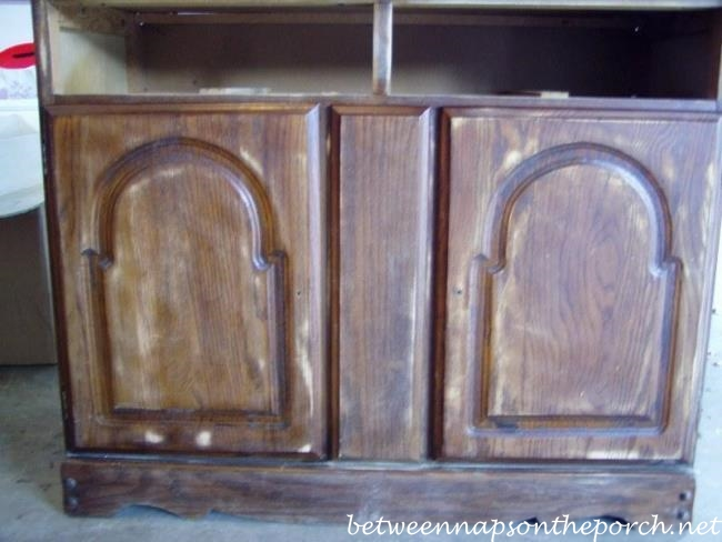 Old Stained Hutch Sanded for Painting_wm