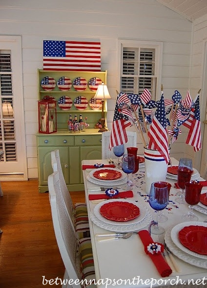Painted Hutch Decorated for the 4th of July