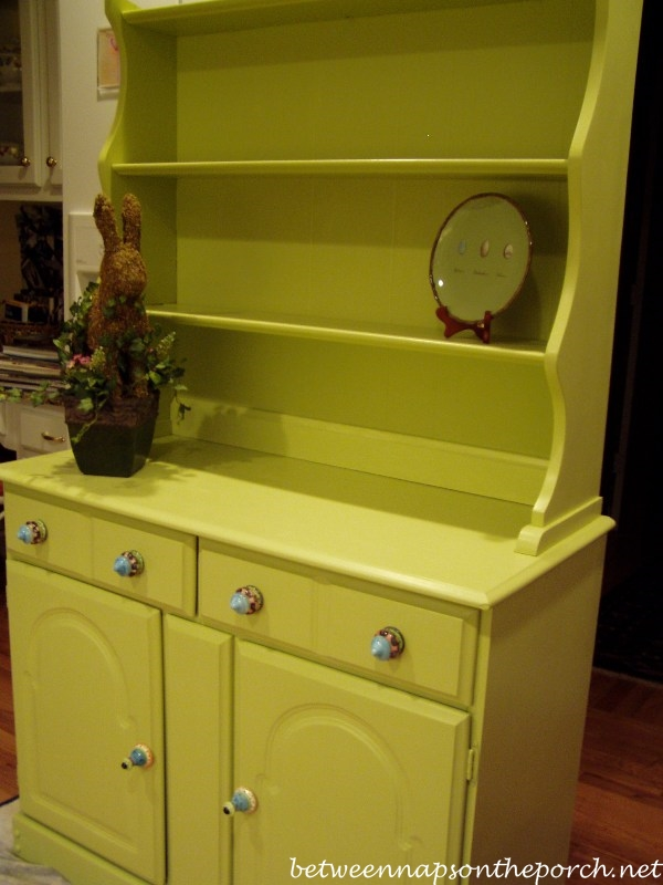 Stained Hutch Makeover with Paint_wm