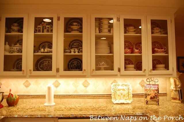 Kitchen Renovation with Glass front cabinets and undercabinet lighting