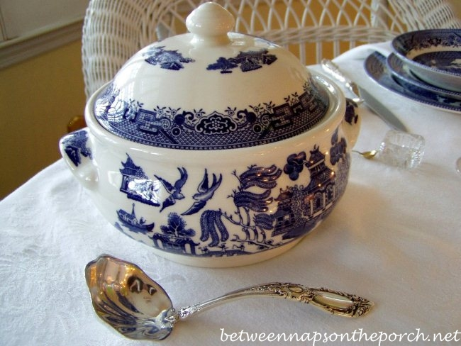 Blue Willow Tureen in a Blue and White Table Setting