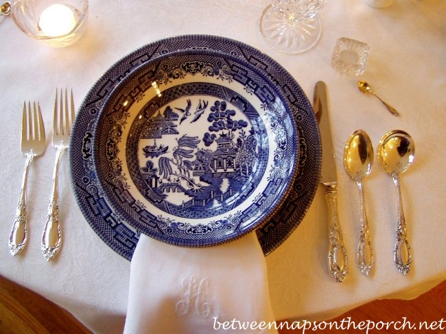 Blue Willow Dishware in a Blue and White Table Setting & A Blue and White Table Setting with Blue Willow