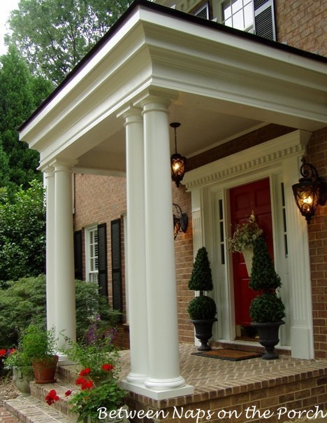 Front porch addition modeled after gainesway farms porch - Colonial house exterior renovation ideas ...