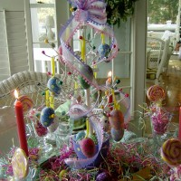 Easter Table Setting with Egg Tree Centerpiece