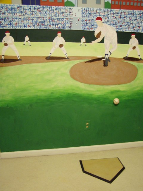 Hand-painted Baseball Mural for Boy's Bedroom
