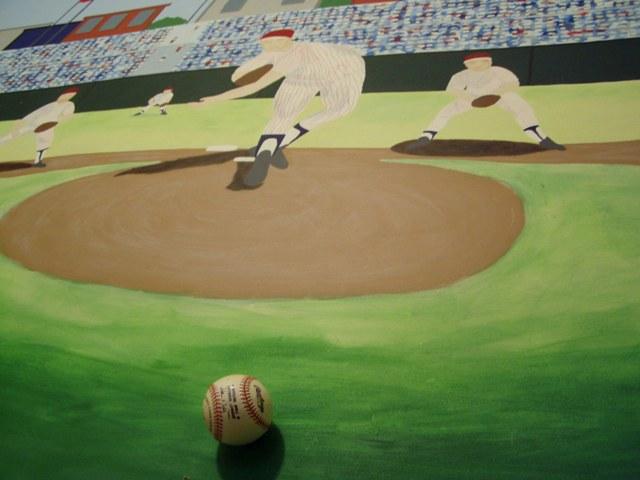 Hand-painted Baseball Mural for Boy's Bedroom