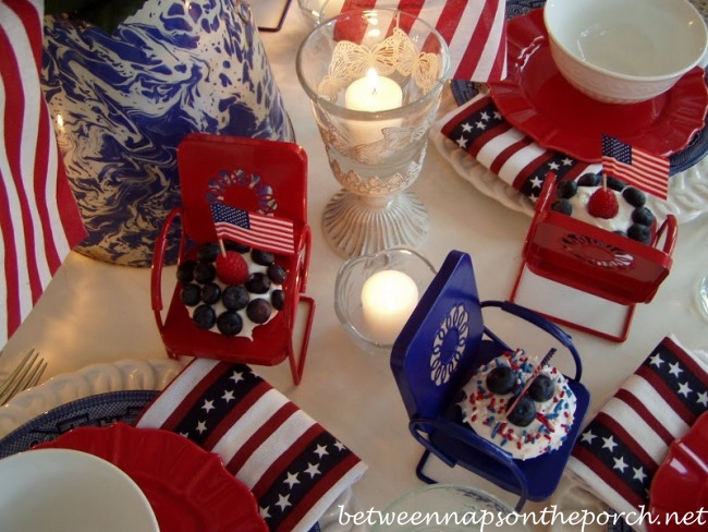 Christmas In July Ideas For Work.Tablescape For The 4th Of July Between Naps On The Porch