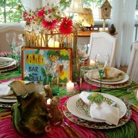 Hawaiian or Tropical Table Setting
