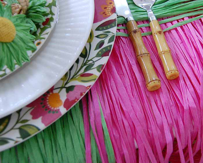 Grass Skirts for a Whimsical Table Setting