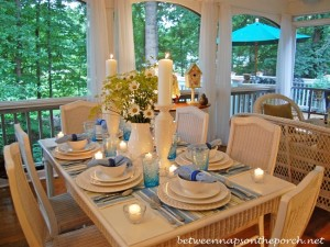 Summer Table Setting Tablescape with Daisy and Patrinia scabiosifolia Nagoya Centerpiece