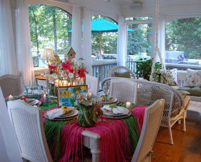 Summer Table with Colorful Kim Parker Chargers