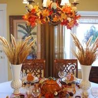Beautiful Wheat Centerpiece with Pumpkin Tureens