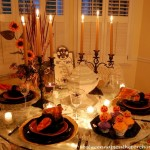 Halloween Tablescape with a Spider-Web Tablecloth