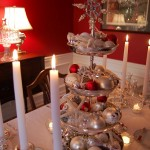 Silver-Tiered Centerpiece for Christmas