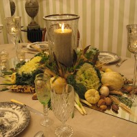 Thanksgiving with Candlelight and a Natural Centerpiece