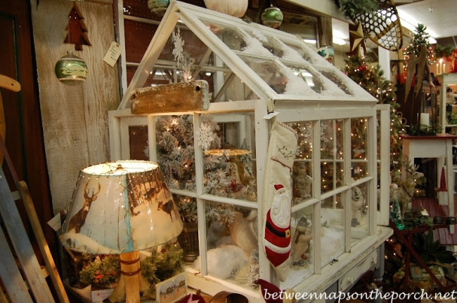 Greenhouse Built from Old Recycled Windows and Decorated for Christmas