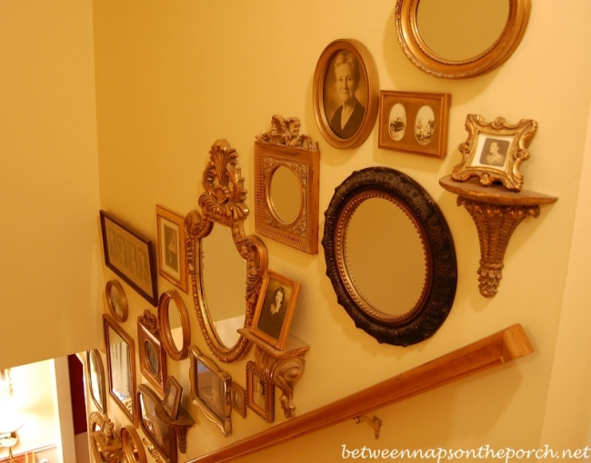 Old Family Photos Displayed Up Staircase Wall 1_wm