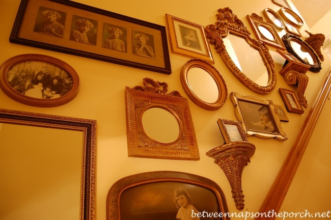 Old Family Photos Displayed Up Staircase Wall