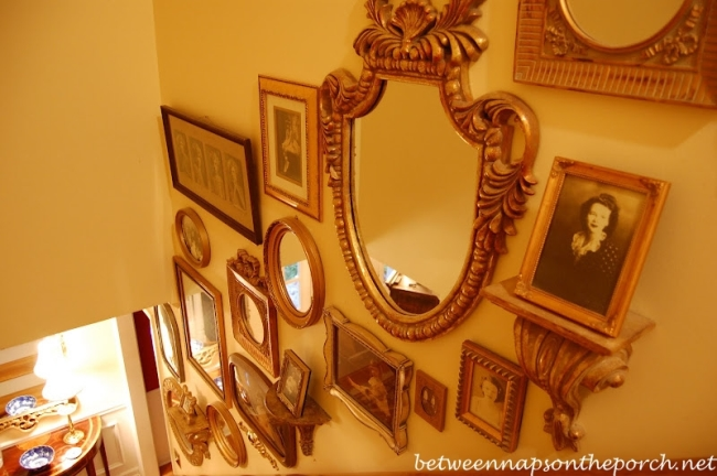 Old Family Photos Displayed Up Staircase Wall_wm