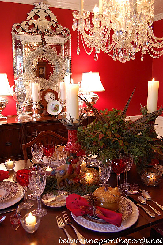 Thanksgiving Table Setting Tablescape with Hunt Woodland Theme
