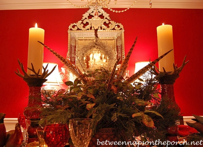 Thanksgiving Tablescape with Nandina and Pheasant Feathers