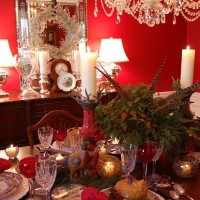 Thanksgiving Tablescape with a Woodland Them Featuring Spode Woodland China, Antler Candle Holders and a Nandina and Pheasant Centerpiece