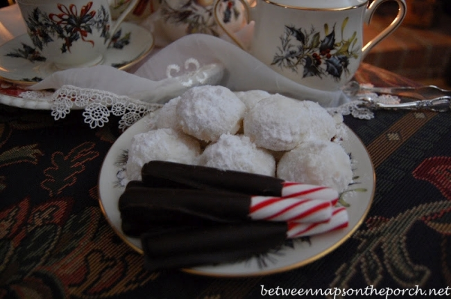 Chocolate Dipped Peppermint Sticks and Snowball Cookies