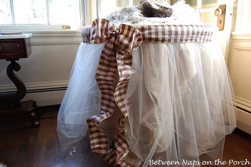 Burlap and organza tableskirt for Burlap christmas table decorations