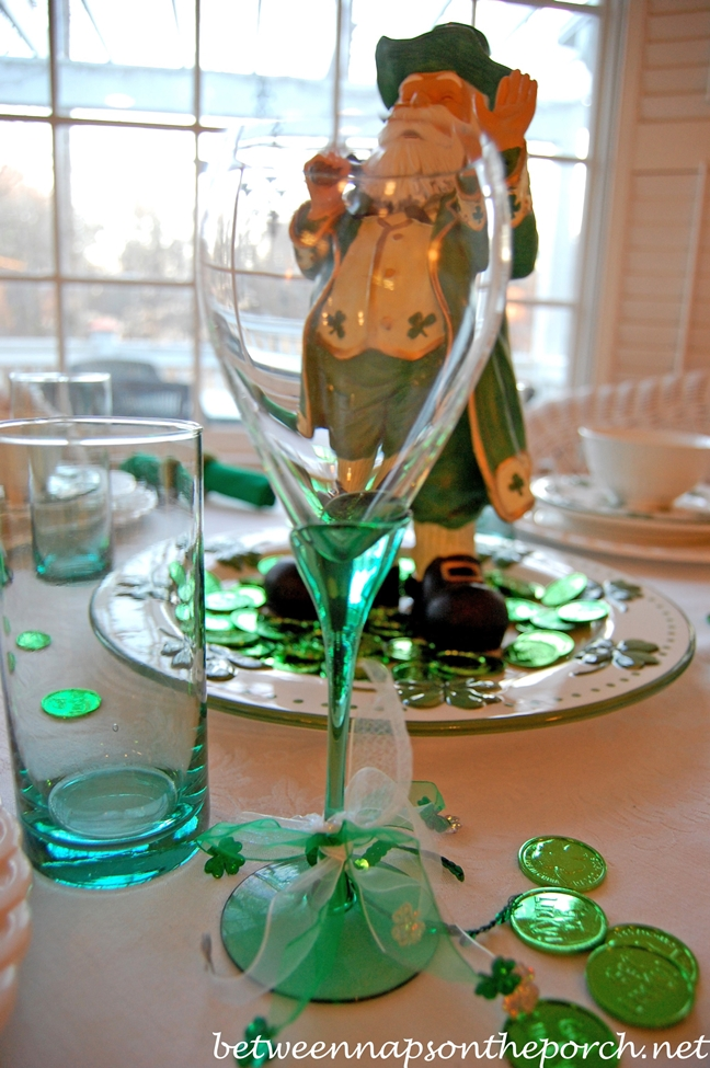 Green Stemware for a St. Patrick's Day Table Setting