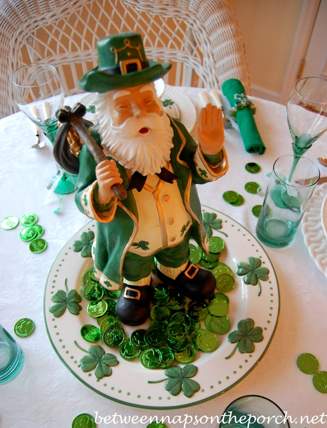 Leprechaun Centerpiece for a St. Patrick's Day Table Setting Tablescape