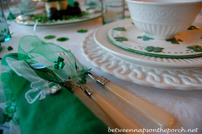 St. Patrick's Day Table Setting Tablescape with Shamrock Dishware