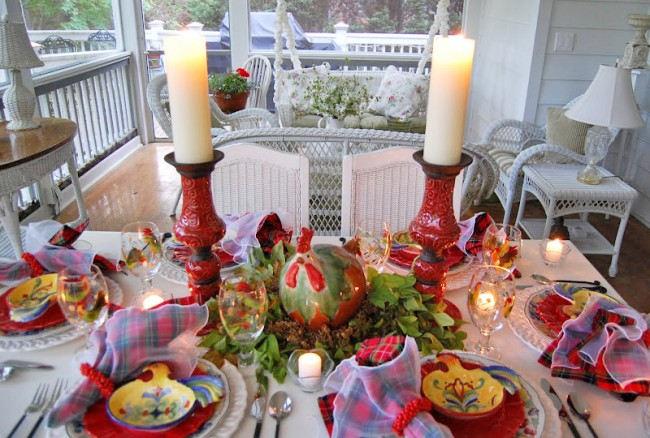 Colorful Tablescape with a Rooster Centerpiece
