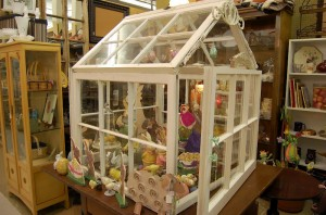 Greenhouse with Easter vignette inside