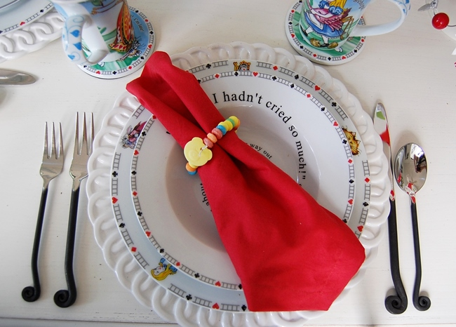 Alice in Wonderland Table Setting Tablescape with Red Napkins