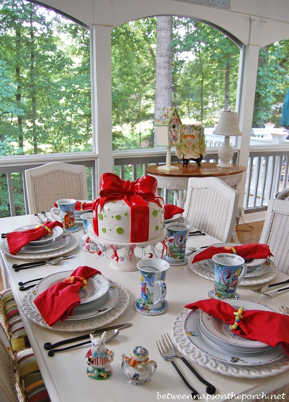 Alice in Wonderland Table Setting Tablescape with Paul Cardew Dishware