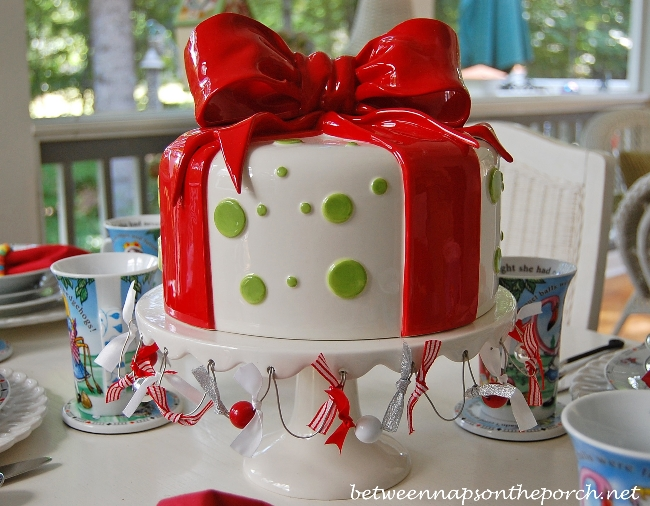 Dept. 56 Cake Stand and Cover in Present Design with Red Bow_wm