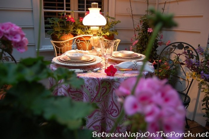 Garden Table Setting by Lamplight