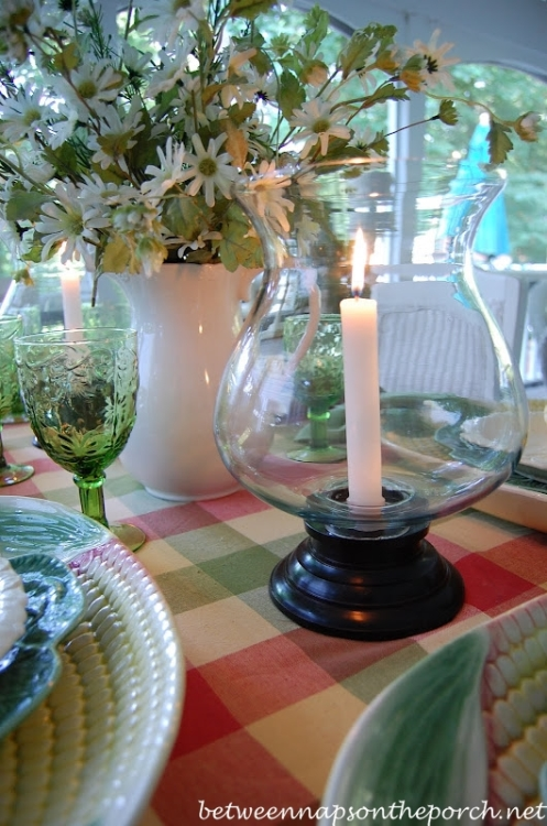 Summer Table Setting with Globe Candle Holders from Colonial Candle