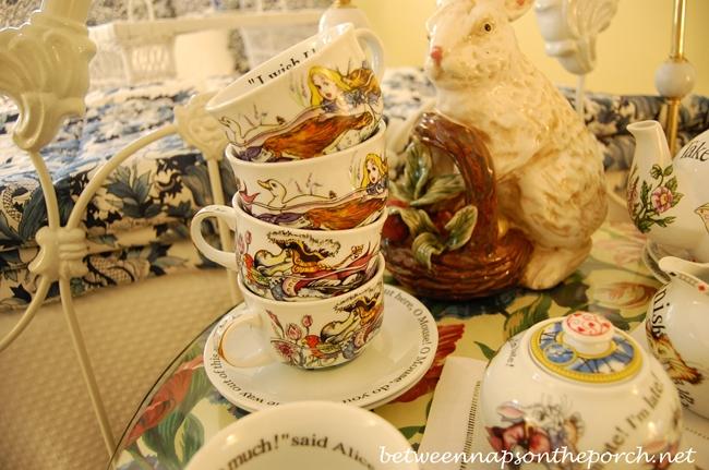 Alice in Wonderland Tea Cups Stacked