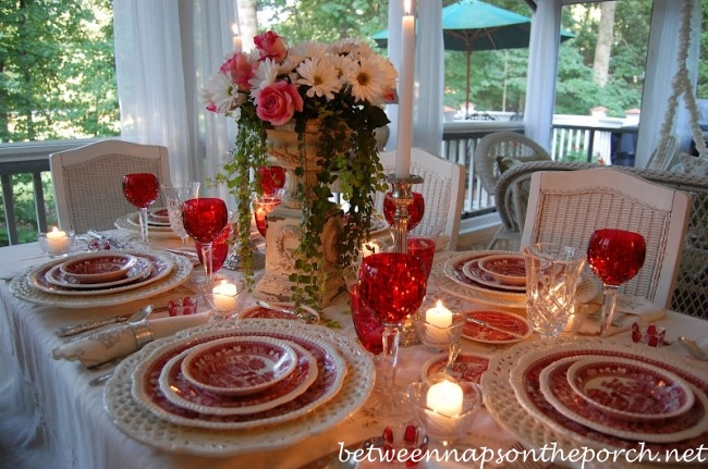 Summer Table Setting Tablescape with Floral Centerpiece of Roses and Daisies