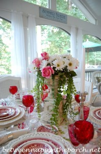 Summer Table Setting Tablescape with Roses and Daisies Centerpiece
