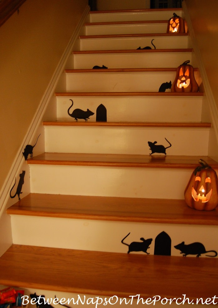 Halloween Staircase with Mice and Pumpkins and Rats