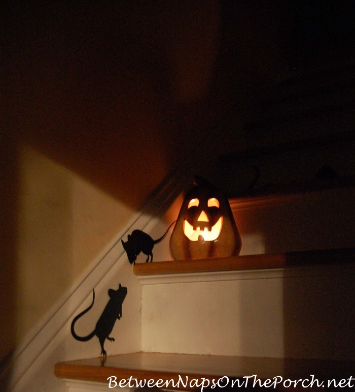 Rats Playing on Halloween Staircase