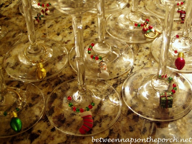 Christmas Charms for Wine Glasses